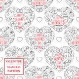 De dag van de gelukkige Valentijnskaart Het naadloze patroon van de valentijnskaart Vectorillust Stock Foto's