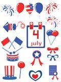 De dag van de onafhankelijkheid, pictogrammen Stock Foto