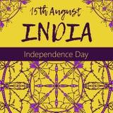 De Dag van de onafhankelijkheid van India 15 van Augustus met mandala Oosters patroon, illustratie Islam, Arabisch Indisch Turks  Stock Afbeeldingen