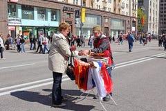 De Dag van de overwinning in de straten van Moskou. Stock Foto's