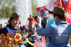 De Dag van de Overwinning van vieringen in Moskou Royalty-vrije Stock Foto's