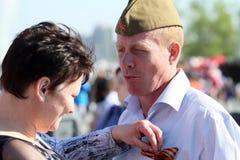 De Dag van de Overwinning van vieringen in Moskou Stock Afbeelding