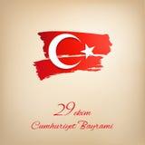 De dag van de republiek op het conceptenachtergrond van Turkije Cumhuriyet Bayrami Stock Afbeelding