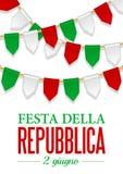 De Dag van de tekstitaliaanse republiek, Th 2 van Juni Vectorillustratie voor Nationale Dag van Italië Bunting decoratie Stock Afbeeldingen