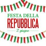 De Dag van de tekstitaliaanse republiek, Th 2 van Juni Vectorillustratie voor Nationale Dag van Italië Bunting decoratie Royalty-vrije Stock Foto's