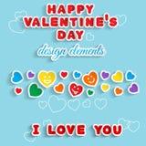 De dag van de valentijnskaart De elementen van het ontwerp Stock Afbeelding