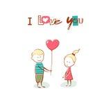 De dag van de valentijnskaart De jongen geeft het meisje een ballonhart Tekst I HOUDT van U Overhandig getrokken kaart Stock Afbeeldingen
