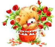 De dag van de valentijnskaart Grappige teddybeer en rood hart Stock Afbeelding