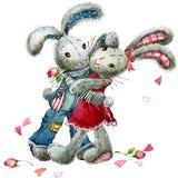 De dag van de valentijnskaart Het konijn van het waterverfkonijntje en nam bloemillustratie toe royalty-vrije illustratie