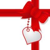 De dag van de valentijnskaart huidig met rode boog Royalty-vrije Stock Foto