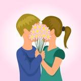 De dag van de valentijnskaart Jong Paar royalty-vrije illustratie