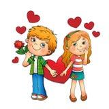 De dag van de valentijnskaart Jongen en meisje met harten op wit wordt geïsoleerd dat Stock Afbeelding