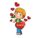 De dag van de valentijnskaart Jongen met roze ter beschikking met harten Stock Foto's