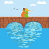 De Dag van de valentijnskaart op brug Stock Afbeelding