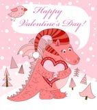 De dag van de valentijnskaart. Roze draak met hart. Royalty-vrije Stock Afbeeldingen