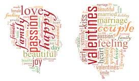 De dag van de valentijnskaart `s Ik houd van u Houdend van Paar Hart Illustratie in woorden vector illustratie