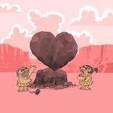De Dag van de valentijnskaart in Stenen tijdperk Royalty-vrije Stock Afbeelding