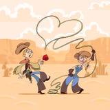 De Dag van de valentijnskaart van cowboy Stock Afbeeldingen