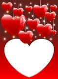 De Dag van de Valentijnskaart van de Kaart van de Ballons van de Harten van de liefde Royalty-vrije Stock Foto's