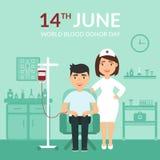 De Dag van de wereldBloedgever geneeskunde Medische banner Vertragingen en wapens Een verpleegster of een arts bij de kliniek en  Royalty-vrije Stock Fotografie