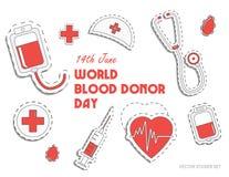 De Dag van de wereldBloedgever Internationale vakantie schenk bloed en red het leven De schenking geeft liefde Vector Stock Foto's
