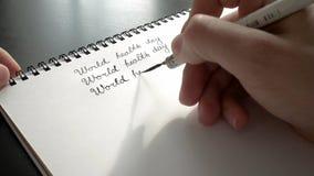 De dag van de wereldgezondheid kalligrafie en het lattering Derde lijn stock videobeelden
