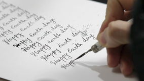De dag van de wereldgezondheid kalligrafie en het lattering Tweede lijn stock footage