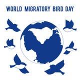 De Dag van de wereldtrekvogel Vogelsvlieg rond de bol Plaats voor tekst Royalty-vrije Stock Foto's