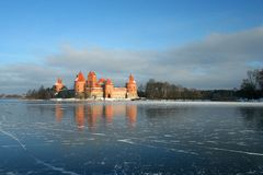 De dag van de winter in kasteel Trakai Royalty-vrije Stock Fotografie