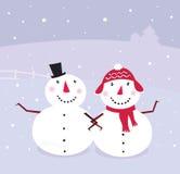 De dag van de winter: Sneeuwman & Sneeuw - vrouw,   vector illustratie