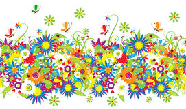 De dag van de zomer. Bloemen naadloze achtergrond Stock Afbeelding