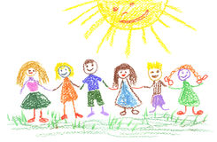 De dag van de zomer, de tekening van het kind Royalty-vrije Stock Afbeeldingen