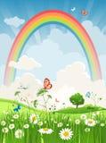 De dag van de zomer met regenboog Stock Fotografie