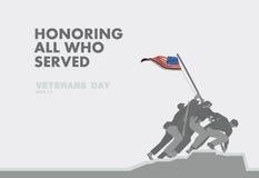 De dag van eerveteranen, het monument en ontwerp van het vlag het vlakke thema stock illustratie