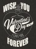 De Dag van gelukkig Valentine het van letters voorzien in wijnoogst gestileerd ontwerp. Royalty-vrije Stock Afbeelding