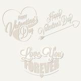 De Dag van gelukkig Valentine het van letters voorzien in wijnoogst gestileerd ontwerp Royalty-vrije Stock Afbeeldingen