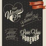 De Dag van gelukkig Valentine het van letters voorzien in wijnoogst gestileerd ontwerp Stock Afbeelding