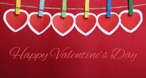 De Dag van gelukkig Valentine met Rode Harten Royalty-vrije Stock Foto's
