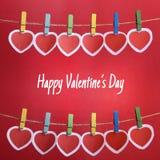 De Dag van gelukkig Valentine met Rode Harten Stock Fotografie