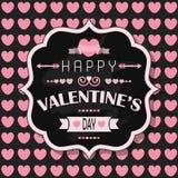 De Dag van gelukkig Valentine - op de roze achtergrond van het hart naadloze patroon Stock Foto's