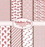 De Dag van gelukkig Valentine! Reeks van liefde en romantisch naadloos patroon Stock Afbeelding