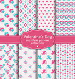 De Dag van gelukkig Valentine! Reeks van liefde en romantisch naadloos patroon Royalty-vrije Stock Foto's