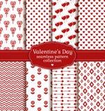 De Dag van gelukkig Valentine! Reeks van liefde en romantisch naadloos patroon Stock Fotografie