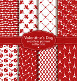 De Dag van gelukkig Valentine! Reeks van liefde en romantisch naadloos patroon Stock Foto's