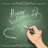 De Dag van gelukkig Valentine, trekt 3d hand een hart op de raad Royalty-vrije Stock Fotografie