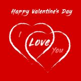 De Dag van gelukkig Valentine - twee grote harten en verklaring van liefde stock illustratie