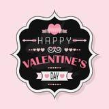 De Dag van gelukkig Valentine - Uitstekend krijtkenteken op roze achtergrond Vector Illustratie
