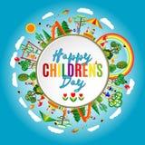 De dag van gelukkige kinderen Vectorillustratie van de Universele affiche van de Kinderendag De achtergrond van kinderen Royalty-vrije Stock Fotografie