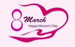 De Dag van gelukkige Vrouwen, 8 Maart met een mooi roze hartlint, horizontaal kaartformaat voor Webbanners of kaarten, vector stock illustratie