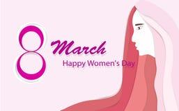 De Dag van gelukkige Vrouwen, 8 Maart, met het mooie formaat van de langharige vrouwen Horizontale kaart voor Webbanners of kaart stock illustratie
